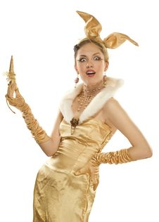 Beautiful Girl Dressed Up As A Gold Rabbit Stock Images