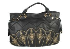 Black Leather Handbag Stock Photo