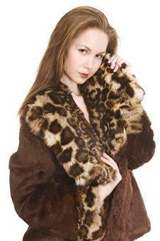 Beautiful Girl In Fur Coat Royalty Free Stock Image