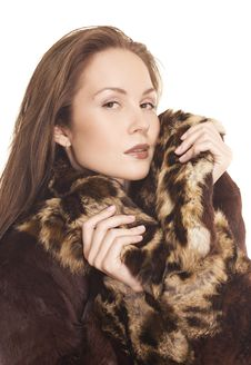 Close-up Beautiful Girl In Fur Coat Royalty Free Stock Image