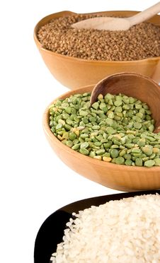 Rice, Pea And Buckwheat In Plate Isolated On White Royalty Free Stock Images