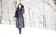 Free A Woman Is In The Winter Park Royalty Free Stock Image - 17634886
