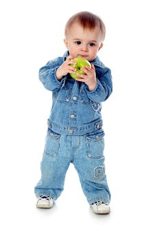 Baby With Green Apple Royalty Free Stock Photo