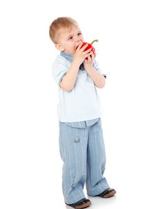 Boy With Sweet Pepper Royalty Free Stock Images