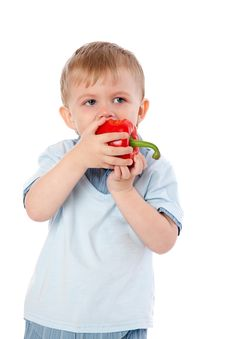 Free Boy With Sweet Pepper Stock Photo - 17634900