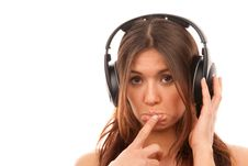 Free Young Girl Listening Music In Big Headphones Royalty Free Stock Images - 17634909