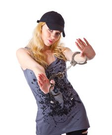 A Girl With Handcuffs In Hands Royalty Free Stock Photos