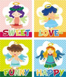 Free Cartoon Angel Card Stock Photography - 17634992