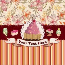 Free Cartoon Cake Card Royalty Free Stock Photos - 17635048