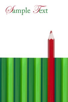 Free Red Colored Pencil Out Standing From Green Stock Photography - 17635292