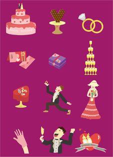Free Cartoon Wedding Icon Royalty Free Stock Image - 17635346