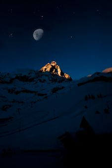 Free Moon On The Matterhorn Stock Photos - 17635693