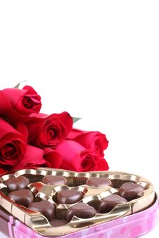 Free Rose And Heart-shaped Chocolate Royalty Free Stock Photography - 17636087