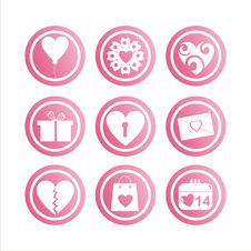 Set Of 9  St. Valentine S Day Signs Stock Photo
