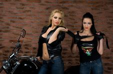 Free Sexy Girls On Motorbike Royalty Free Stock Images - 17636979