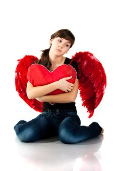 Free Beautiful Girl Sitting With Heart Royalty Free Stock Photography - 17637457