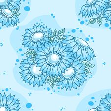 Free Seamless Pattern Blue Flowers Bouquet. Stock Images - 17637704