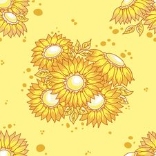 Free Seamless Pattern Yellow Flowers Bouquet. Royalty Free Stock Images - 17637719