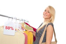 Free Young Happy Woman In Clothes Store Royalty Free Stock Photography - 17638077