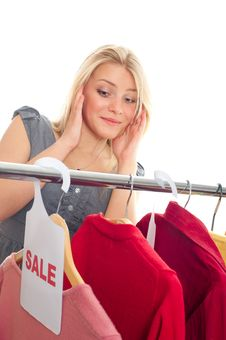 Young Happy Woman In Clothes Store Royalty Free Stock Image