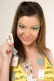 Girl With Playing Cards Stock Image