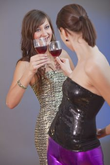 Free Girls Raising Toast Royalty Free Stock Image - 17638396