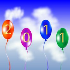 Free New Year S Varicoloured Balls In Sky Stock Image - 17638761
