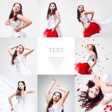 Free Young Beautiful Woman With Petals Of Roses Royalty Free Stock Photography - 17638797