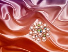 Free Brooch Closeup On Silk Background Royalty Free Stock Photo - 17638965