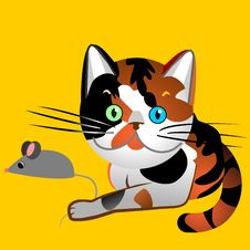 Free Vector British Cat Tortoiseshell Caught The Mouse Royalty Free Stock Images - 17639089