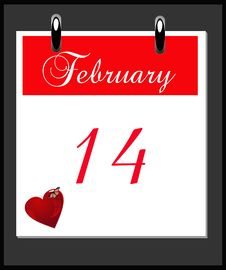 Desk Top Calendar Reminding You Of Valentines Day Royalty Free Stock Photos