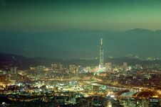 Night Scenes Of The Taipei City, Taiwan Royalty Free Stock Image