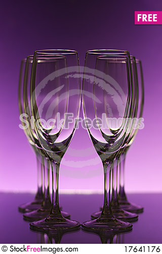 Empty champagne glasses Stock Photo