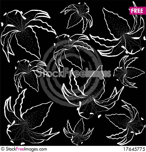 Seamless background with the image of garden lilie Stock Photo