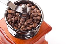 Free Coffee Grinder And Coffee Beans Stock Photography - 17640002