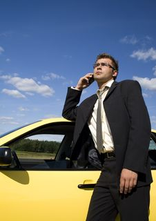 Businessman Talking On Mobile Phone Royalty Free Stock Photography