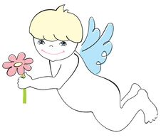 Free Cute Angel With Flower Stock Photography - 17640902