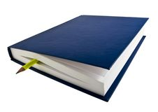 Dark Blue Book With A Book-mark Pencil Royalty Free Stock Images