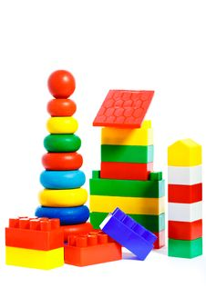 Free Colorful Plastic Toys And Bricks Royalty Free Stock Image - 17641026