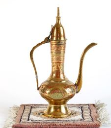 Copper Jug With A Traditional Arabic Ornaments Stock Photos
