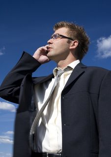 Businessman Talking On Mobile Phone Stock Photos