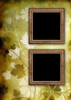 Free Two Photo Frames On Floral Background Stock Photos - 17641263