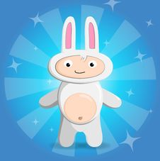 Free Child In A Suit Of A Rabbit Royalty Free Stock Photos - 17642658