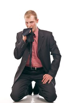 Free Businessman Is Kneeling Stock Photo - 17642780