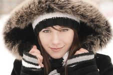 Free Young Beautiful Smiling Woman In A Striped Hat And Stock Photo - 17642820