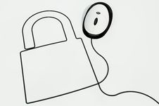 Padlock Drawn With Mouse Wire Royalty Free Stock Image