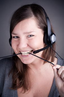 Free Young And Beautiful Callcenter Agent Stock Images - 17643684