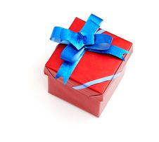 Free Red Gift Box With Blue Bow Stock Image - 17643771