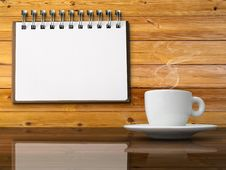 White Cup Of Hot Coffee And White Note Paper Royalty Free Stock Image