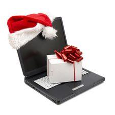 Santa Hat On A Laptop Royalty Free Stock Photography